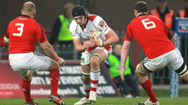 Iain Henderson in action against Munster