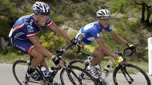 Lance Armstrong pictured with former team-mate Floyd Landis