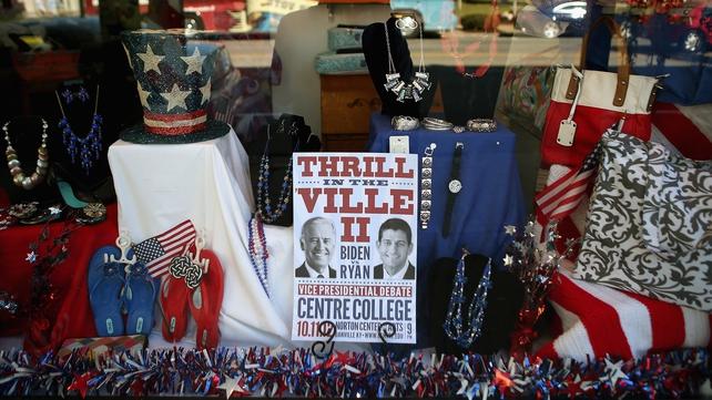 A Kentucky storefront anticipates the debate between Joe Biden and Paul Ryan