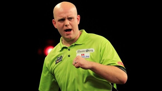 Michael van Gerwen claimed a convincing win against Singapore's Paul Lim