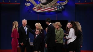 US Vice President Joe Biden and Republican vice presidential candidate  Paul Ryan meet with family after the debate