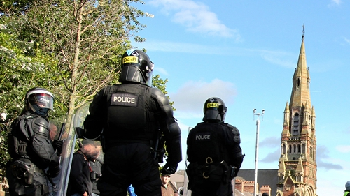 Police overlook events outside St Patrick's Church on 25 August
