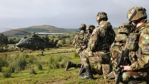 Army troops prepare to board AW 139 helicopter during exercises in the Glen of Imaal (Pic: Air Corps Photo Section)