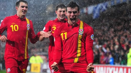 Gareth Bale celebrates what proved to be the winning goal