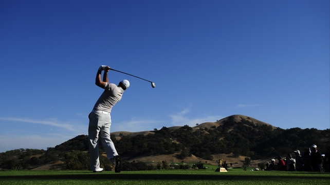 John Mallinger tees off on the 18th hole during round three of the Frys.com Open at the CordeValle Golf Club