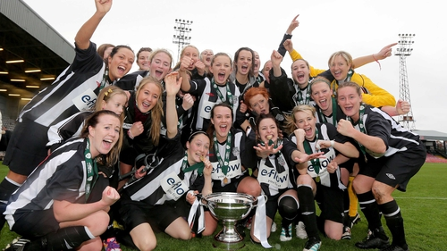 Raheny United celebrate their first cup triumph at Dalymount Park