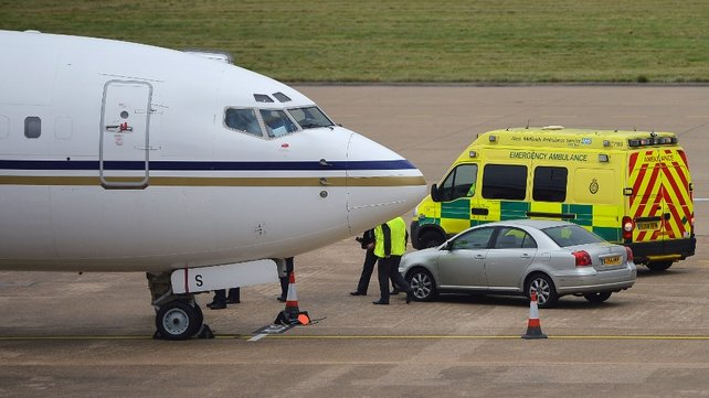 An ambulance waits to transfer Malala Yousafzai to an English hospital