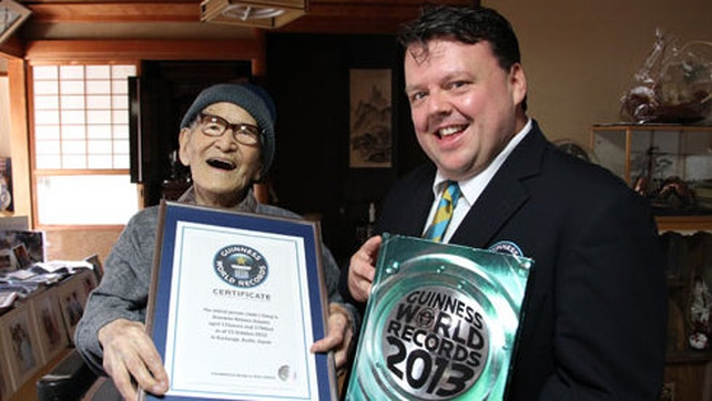 Jiro-emon Kimura pictured with Guinness World Records Editor-in-Chief Craig Glenday