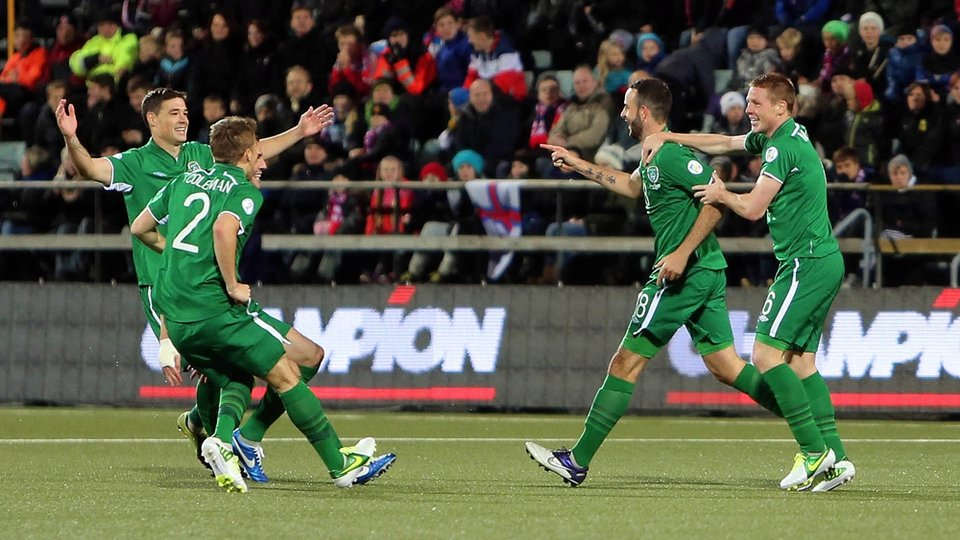 Marc Wilson, second from right, in his fourth appearance, put Ireland ahead just after half-time