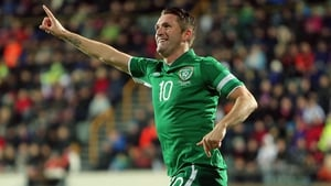 Robbie Keane celebrated Walters' strike with gusto