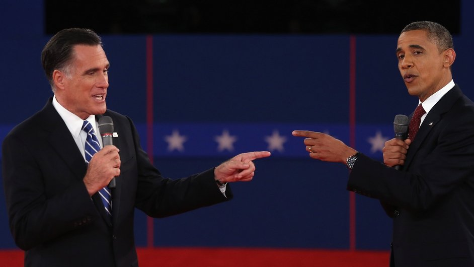 US Presidential candidates Mitt Romney and Barack Obama try to talk over each other in their second debate