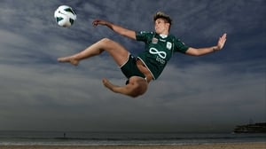 Michelle Heyman of Canberra during the 2012/13 W-League season launch at Bondi Beach, Australia