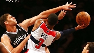 Bradley Beal of the Washington Wizards drives to the basket during a pre-season game at the Barclays Center in Brooklyn
