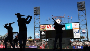 St Louis Cardinals players warm up during batting practice prior to facing the San Francisco Giants