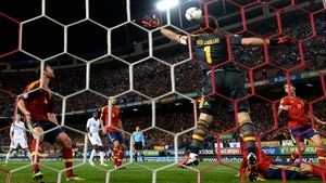 Spain's Iker Casillas jumps to reach a cross during the World Cup qualifier against France at Vicente Calderon stadium