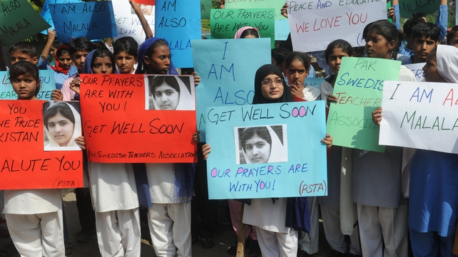 Schoolgirls in Pakistan have expressed support for Malala