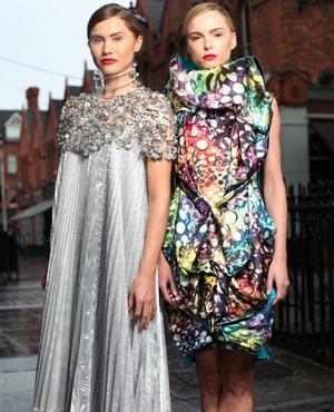 Models Carmel Mannion & Sarah Morrissey showcasing the finalist designs of The Peroni Moda Awards