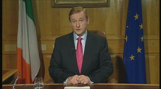 An Taoiseach, Enda Kenny, delivers a national address on 5 December 2012.