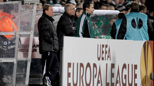 Former Spurs boss Harry Redknapp already know his way to at least one Airtricity League stadium - pictured here watching Spurs take on Shamrock Rovers in the 2011-12 Europa League