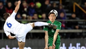 Republic of Ireland midfielder Keith Andrews challenges Hallur Hansson of the Faroe Islands in the World Cup qualifier in Tórshavn