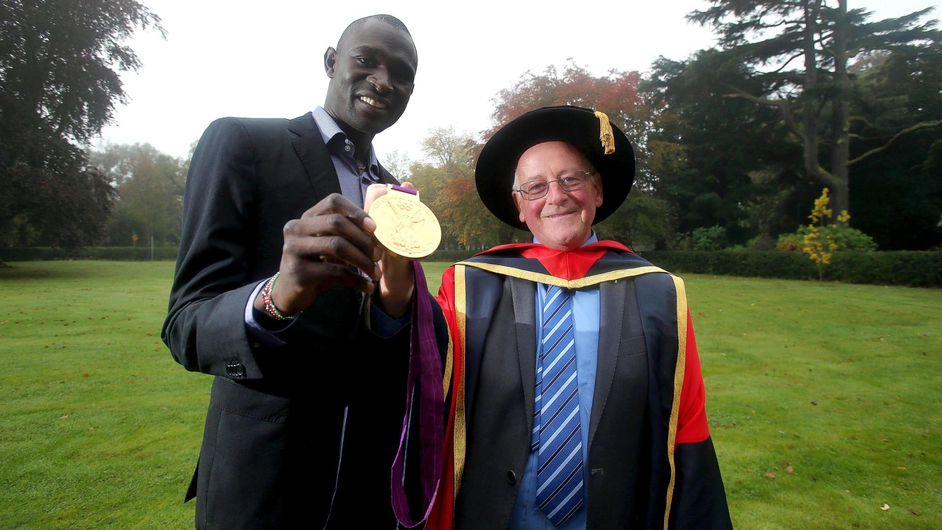 Brother Colm O'Connell receives an Honorary Doctorate from DCU for his services to sport, including his coaching of Kenyan Olympic 800m champion David Rudisha