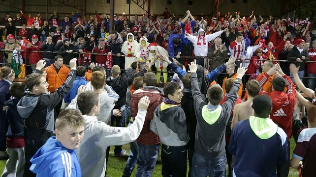 Drogheda United and Sligo Rovers in party mood after the full time whistle