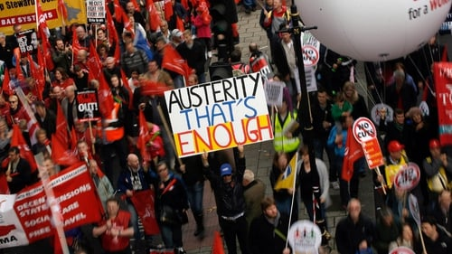 Anti-austerity rallies are also taking place in London (above) and Glasgow