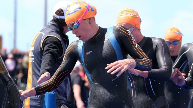 Aileen Morrison was second after the swim leg of the ITU Grand final in Auckland