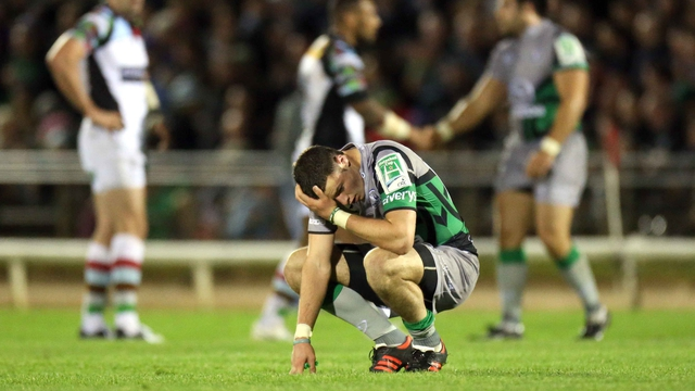 Connacht's Robbie Henshaw show his disappointment at full-time