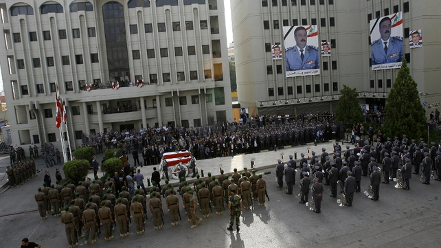 The funeral procession of assassinated top intelligence chief General Wissam al-Hassan, in Martyrs' square