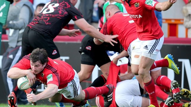 Damien Varley's late touchdown earned a bonus point for Munster