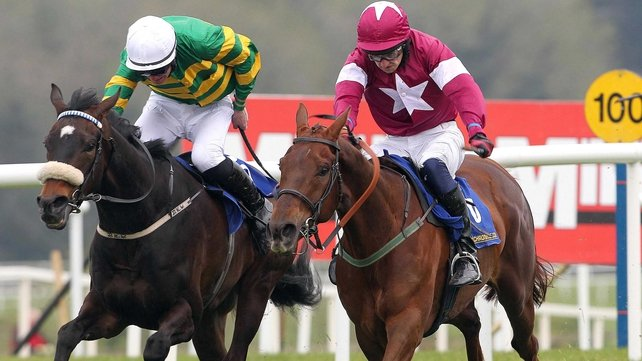 Waaheb (left) makes his hurdling bow at Fairyhouse on Tuesday
