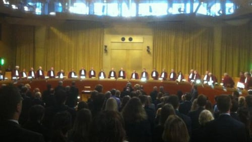 27 judges are hearing the case, including former Irish High Court judge Aindrias O Caoimh