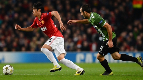 Shinji Kagawa is struggling with a knee injury for Manchester United