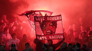 Racism dominated the football headlines, with a message from Sligo fans In Drogheda seen here