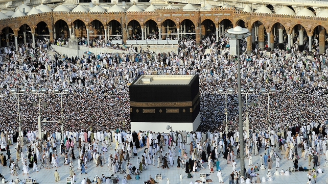 Muslim pilgrims walk around the Kaaba at the Grand Mosque in the Saudi holy city of Mecca