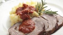 Beef with leek and potato mash