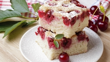 Cherry cake with rhubarb fool and rhubarb sauce