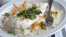 Poached Haddock with spiced rice and fennel salad