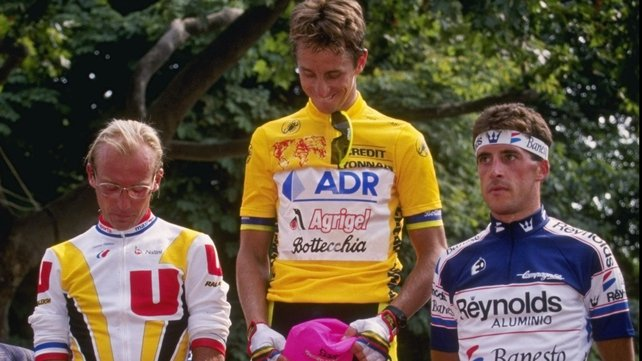 Greg LeMond (c) pictured during the 1989 Tour