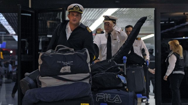 Crew members of the Argentine frigate ARA Libertad arrive to Ezeiza's International airport in Buenos Aires