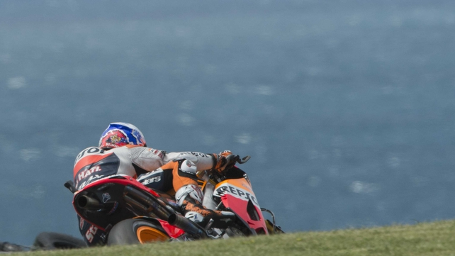 Casey Stoner rounds the bend during practice for the Australian MotoGP