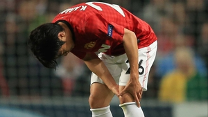 Shinji Kagawa realises he's in trouble during the match against Braga