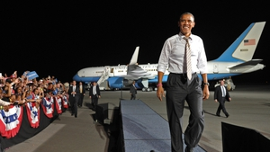 US President Barack Obama arrives for a campaign rally at the Cleveland Burke Lakefront Airport