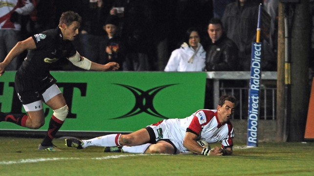 Ruan Pienaar crosses the whitewash at Rodney Parade for Ulster