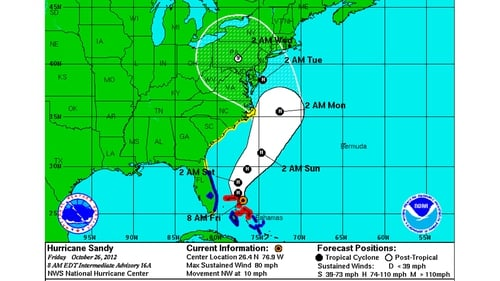 Forecasters have worked out a possible path for the storm