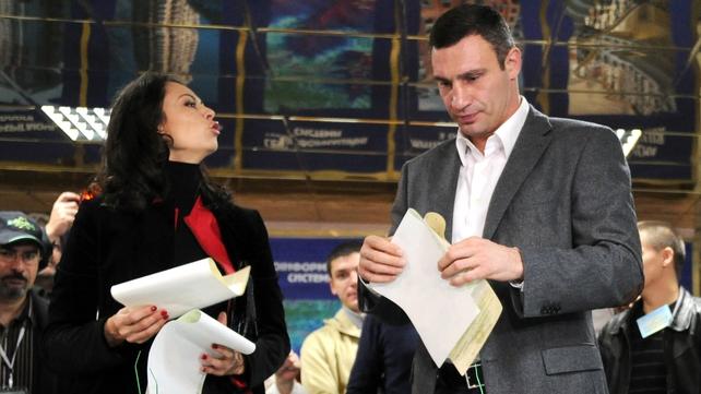 Vitaly Klitschko casts his vote in a polling station in Kiev