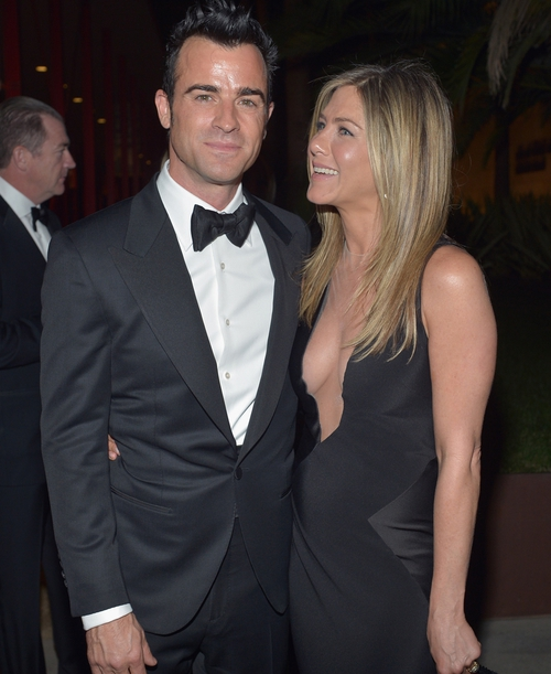 Aniston and Theroux at the Art + Film Gala last night