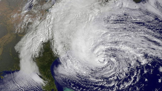 Hurricane Sandy is moving north along the east coast of the US