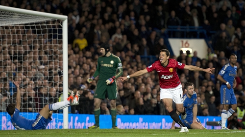 Javier Hernandez celebrates after scoring the winner at Stamford Bridge